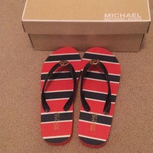 Brand New Michael Kors Navy and Red Flip Flops 7